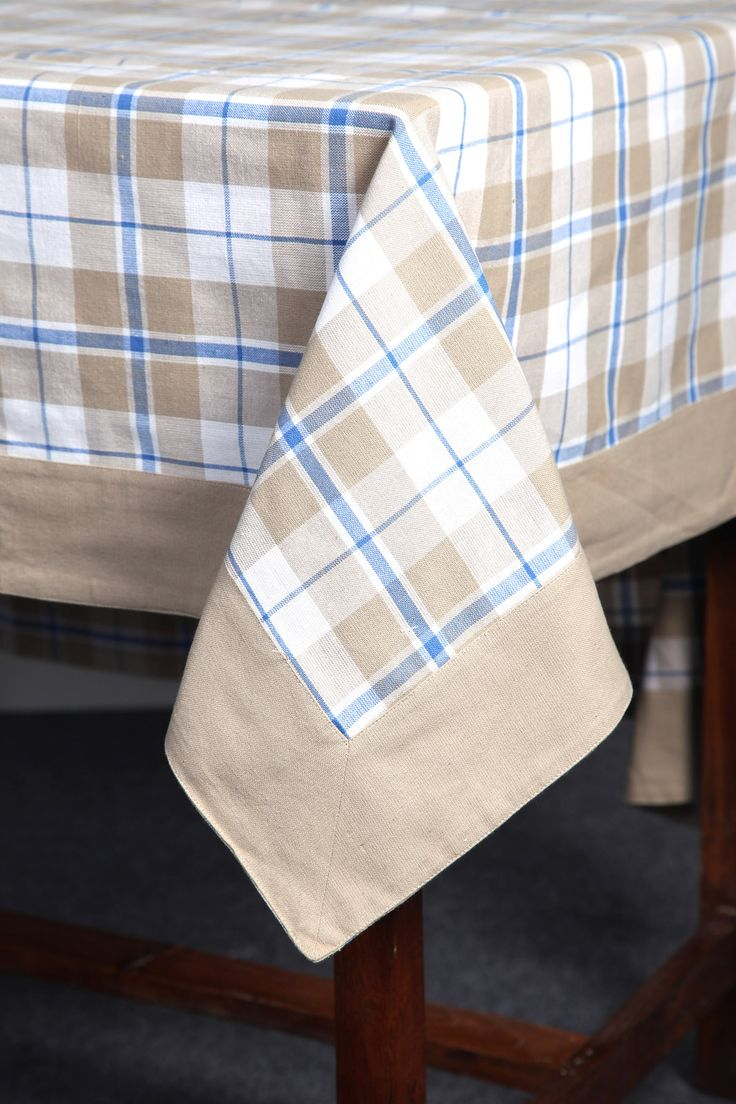 Yarn-dyed checks tablecloth with stitched border by Suraaj Linens