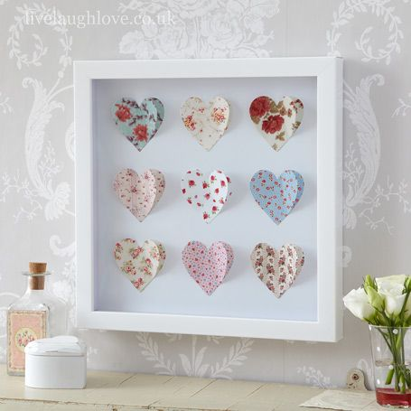 Box Framed Paper Art Picture-Hearts