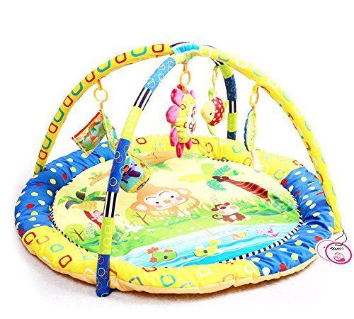 Zicac Baby Round Play Mat Gym Developmental Toy Crawling Mat Monkey Catch Moon Yellow