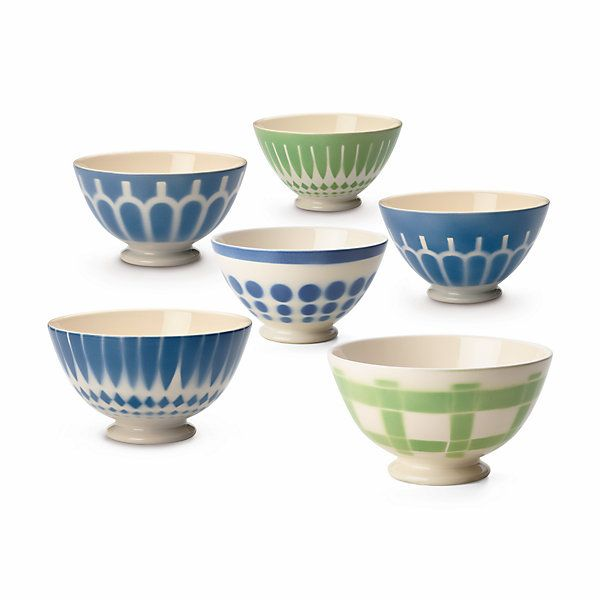 Dekore von schmückender Einfachheit in Blau, Grün oder Rosé. . Die Schalen gibt es in zwei Größen, mit dem... - Milchkaffeeschale Keramik