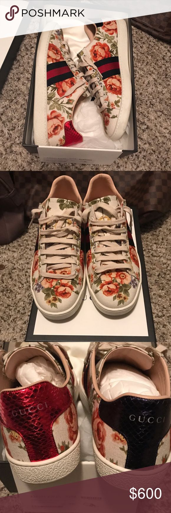 Gucci Floral Print Sneakers Cleaning out my closet, Authentic Gucci Sneakers very rare to find this pattern. I purchased theses on Net-a-porter back in Dec 2016... I've only wore them maybe 5-6 times. Offers only, NO TRADES pls! Size is IT39.5 fits a US 9.5 any others questions just ask :) Gucci Shoes Sneakers