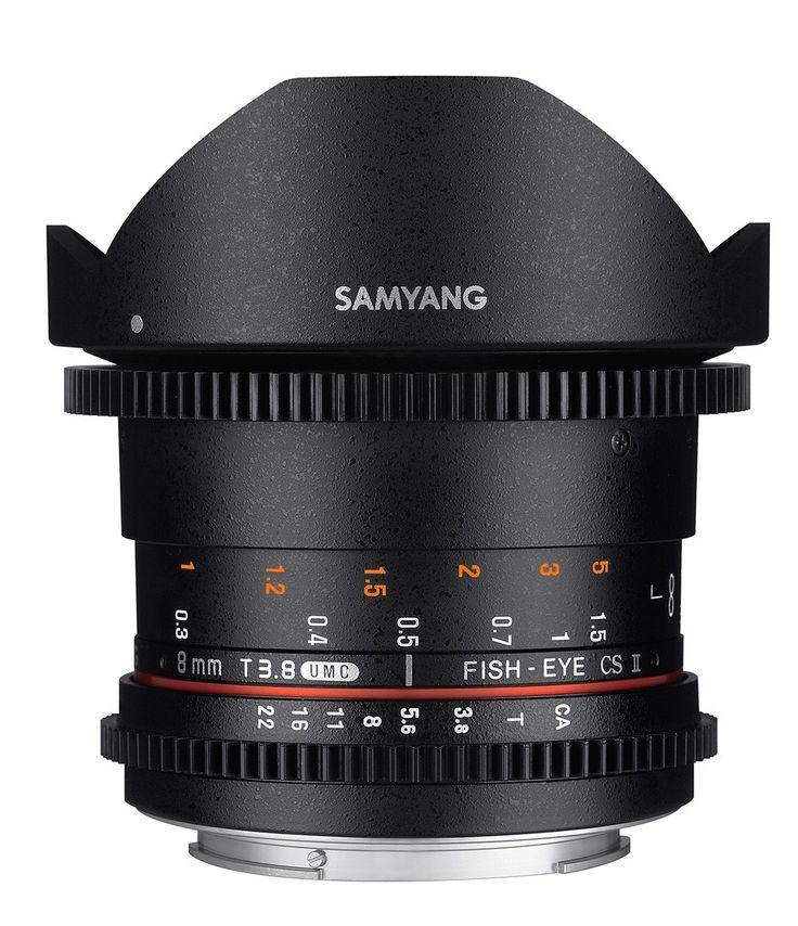 Samyang 8mm T3.8 UMC Fisheye CS II VDSLR II. Available in Canon EF, Nikon F, Sony E mount (for APS-C/S35 sensor) and MFT