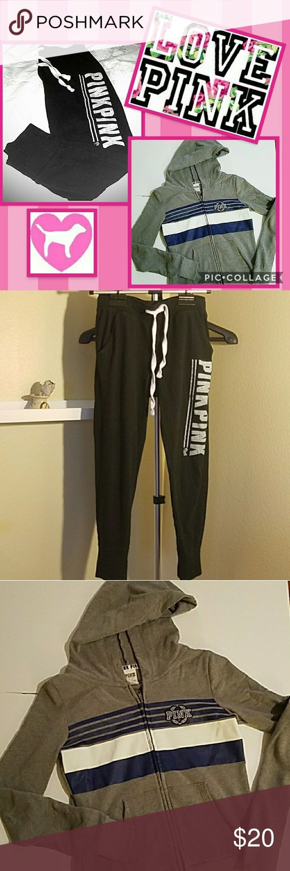 "VS PINK BUNDLE VS PINK SWEATPANTS - size small, black with gray ""PINK"" down leg, draw string,  cinched ankels, excellent condition, no damage  VS PINK ZIP UP HOODIE - size small, gray with blue monogram on front, excellent condition, no damage  ** ALSO AVAILABLE SEPARATELY ** PINK Victoria's Secret Other"