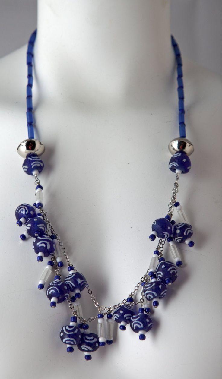 African jewelry, Ghana glass beads, Silver jewelry, Jewelry set, Girlfriend gift ideas, Boho jewelry, funky jewelry, Nautical necklace