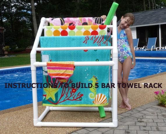 Diy plans to build 5 bar towel rack ideas the o 39 jays for Swimming pool storage ideas