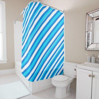 Turquoise Blues White Stripes Shower Curtain - patterns pattern special unique design gift idea diy