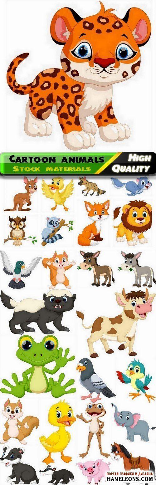 Милые мультяшные животные и птицы - векторные иллюстрации   Cute cartoon wild and domestic funny smiling animal