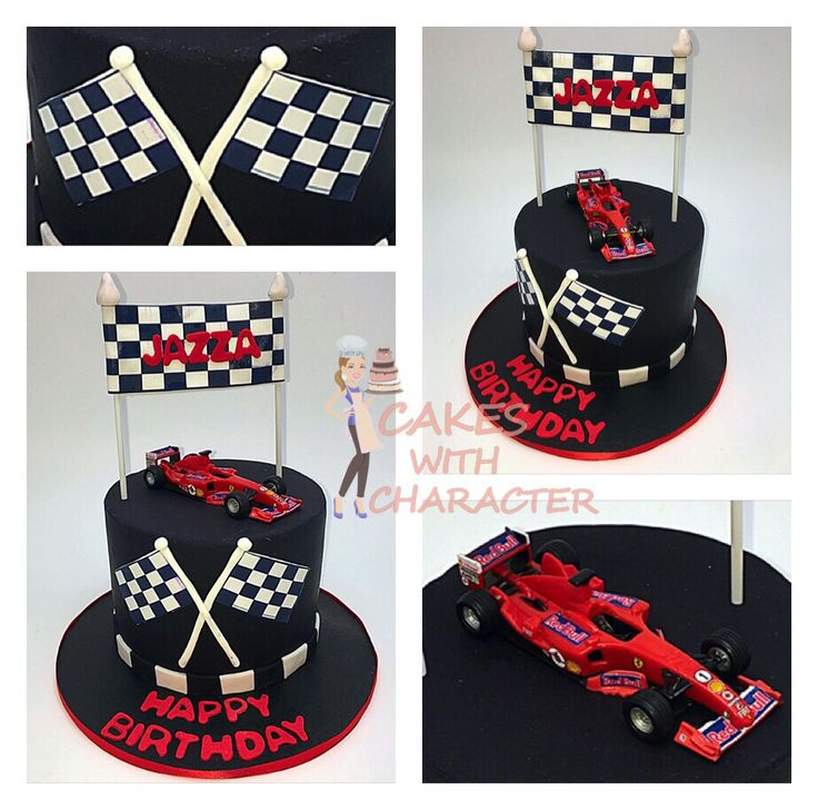 Formula 1 cake with flags and red-bull racing car
