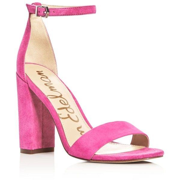 Sam Edelman Yaro Ankle Strap Block Heel Sandals ($130) ❤ liked on Polyvore featuring shoes, sandals, hot pink, colorblock sandals, sam edelman, ankle wrap sandals, colorblock shoes and ankle tie sandals