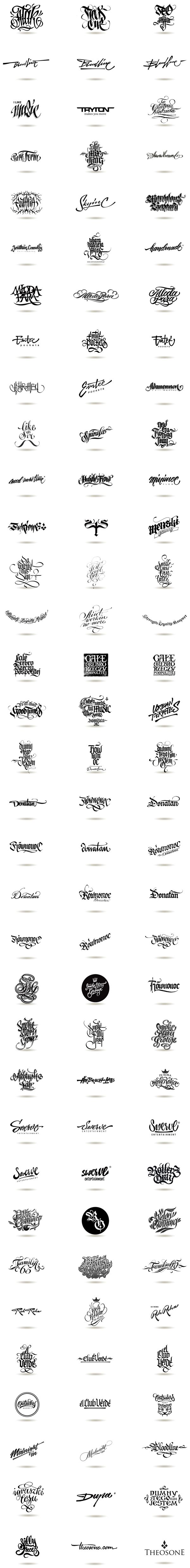 Calligraphic Logos by THEOSONE Adam Romuald Klodecki, via Behance. Pure awesomeness...