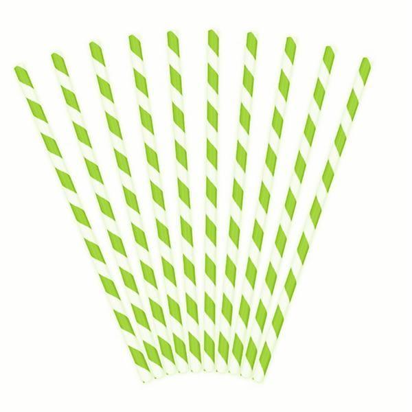 Pajitas Papel Rayas Verdes (Pack 10)