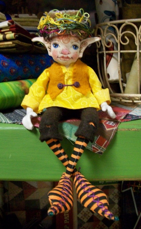 OOAK Findley Forest Fairy Cloth Art Doll by paulasdollhouse, $95.00