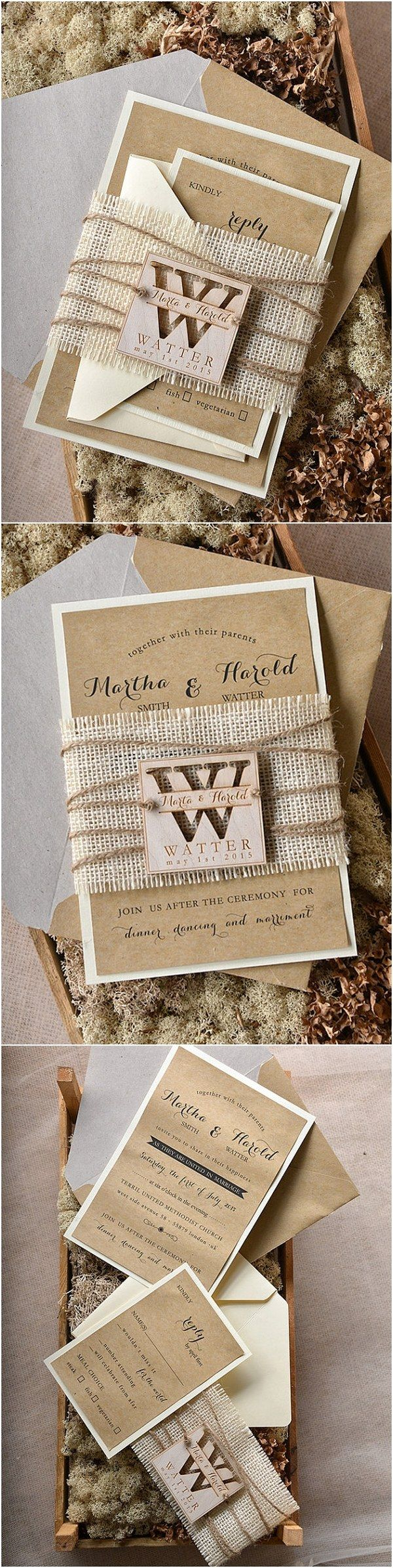 rustic country burlap wedding invitations @4LOVEPolkaDots  #rusticwedding #countryweding #weddingideas