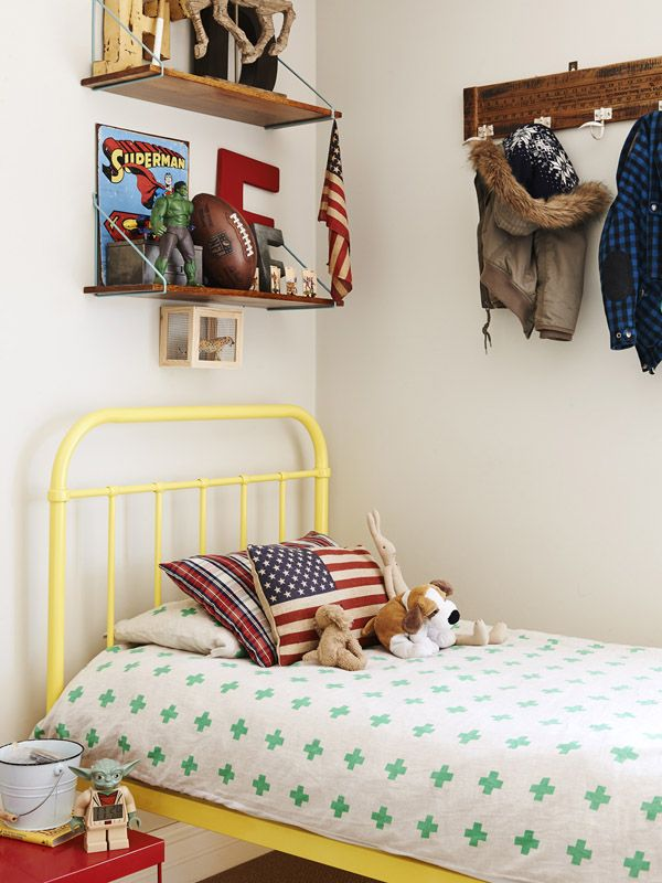 Freddie  Johnny's Room. Yellow single bed from Incy Interiors.  Photo - Eve Wilson, styling - Andrea Moore.