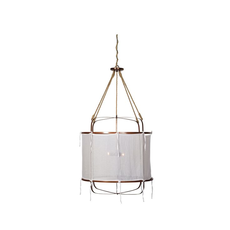 An antiqued iron barrel is wrapped in sheer Belgian linen to create a casual, classic light.