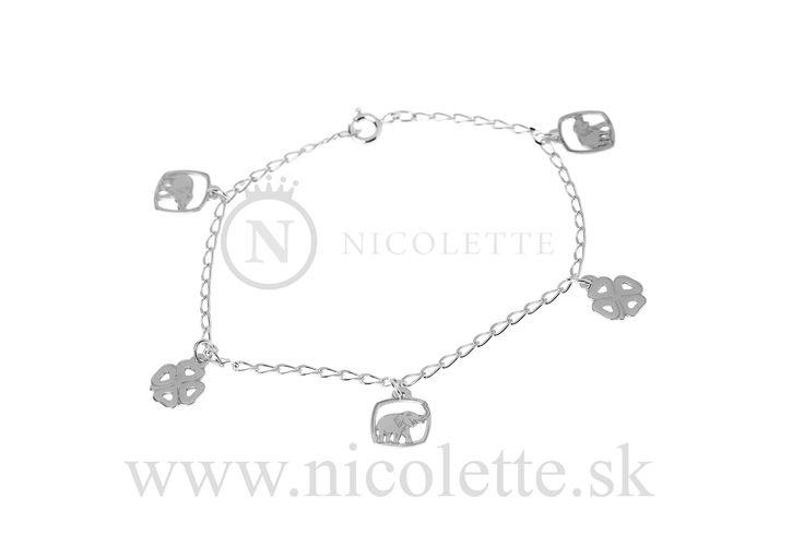 Retiazka na zápästie alebo členok s piatimi príveskami - sloník a štvorlístok.