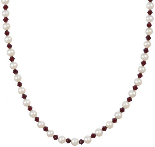 """Sterling Silver Clasp White Freshwater Cultured Pearls and Crystallized Swarovski Elements July Birthstone Ruby Colored Bicone Beaded Necklace, 18"""" Amazon Curated Collection. Save 34 Off!. $55.00"""