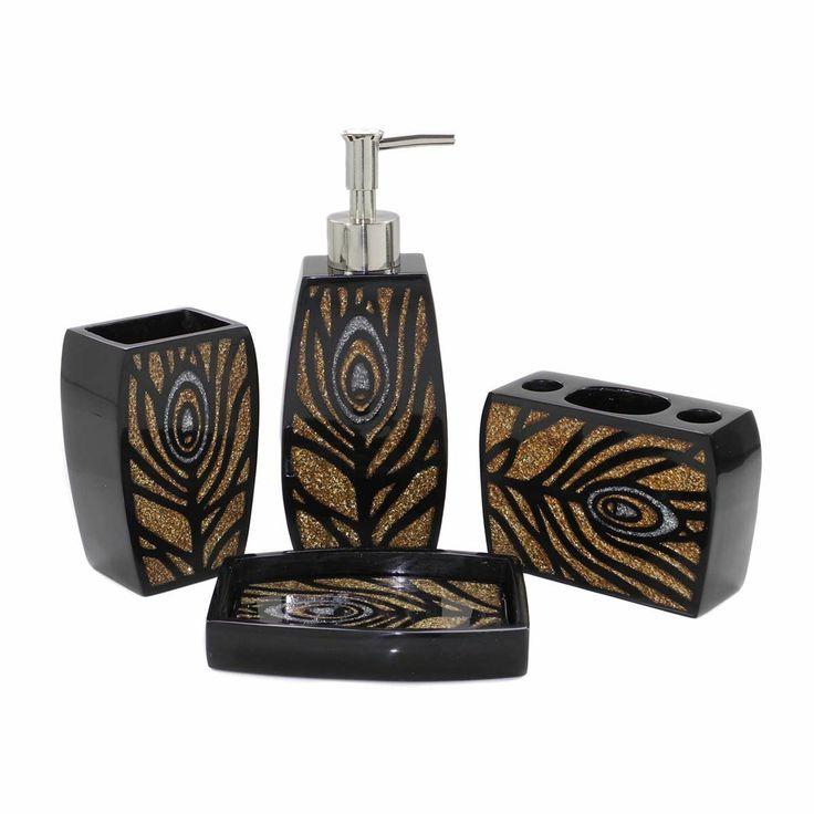 crystal bathroom accessories sets%0A Amazon com  Dream Bath Glitter Peacock Bath Ensemble   Piece Bathroom  Accessories Set Luxury
