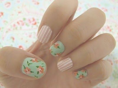 these are so cool: Nails Art, Nails Design, Cute Nails, Spring Nails, Shabby Chic, Vintage Floral, Cath Kidston, Flowers Nails, Chic Nails