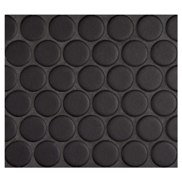 "Complete Tile Collection Penny Round Mosaic - Midnight Black - Matte, 1"" Round Glazed Porcelain Penny Mosaic Tile, Anti-Microbial, Anti-Odor, Anti-Staining Technology, MI#: 063-Z1-250-051, Color: Midnight Black"