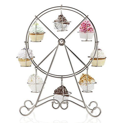 From 9.70 Creative Stainless Steel Ferris Wheel Cupcake Display Stand Holder 8-cup For Parties
