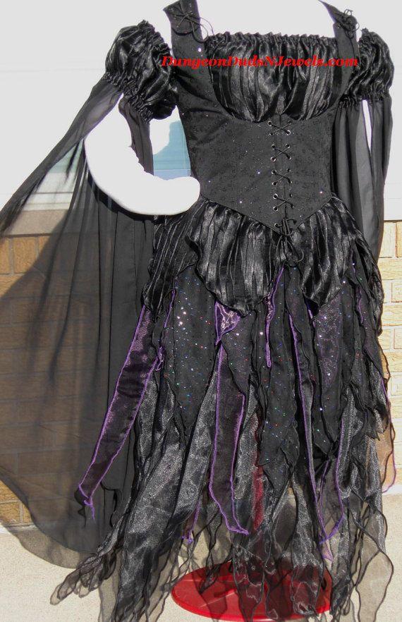 DDNJ Renaissance Gothic Dark Fairy Princess Pixie Fantasy Costume 4pc Long Cosplay Larp Anime Plus Custom Made ANY Size Medieval Vampire