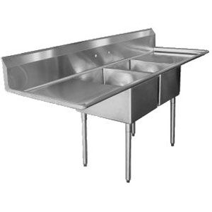 "16 Gauge Regency Two Compartment Stainless Steel Commercial Sink with 2 Drainboards - 72"" Long, 17"" x 17"" x 12"" Compartments"