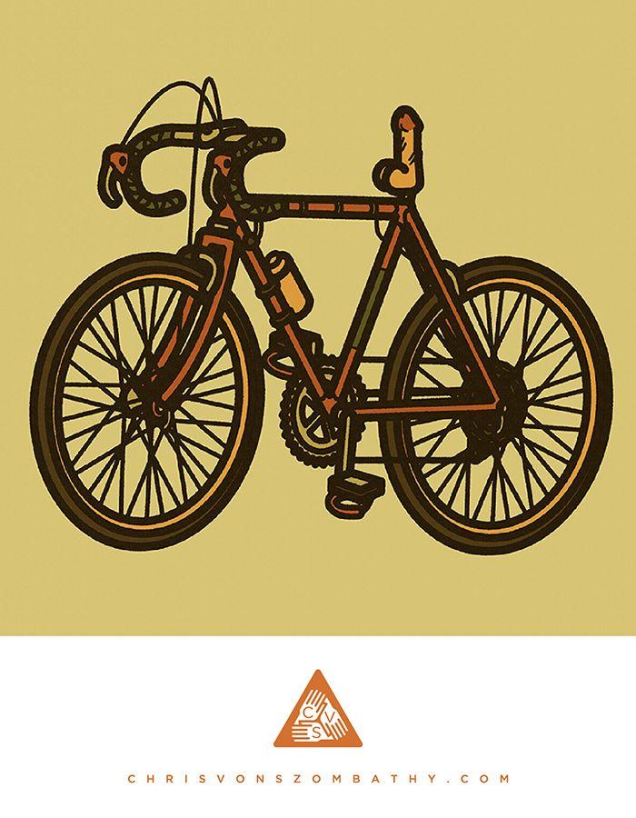 """""""Bike"""" an illustration by artist/designer Chris von Szombathy."""