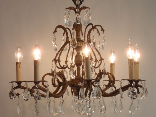 Gorgeous Vintage Large 8 Arm Brass Crystal Pinele Chandelier Ebay