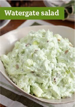Watergate Salad -- Rich with crushed pineapple, pudding, marshmallows and whipped topping, a sweet, chilled Watergate salad is always the first to go at the dinner table!