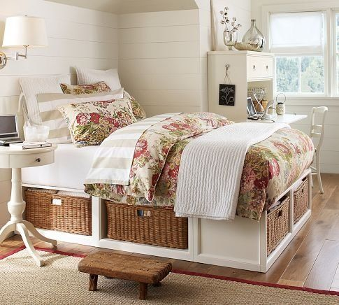 How to make this Pottery Barn bed for $100.00 - love the storage in the platform - would be great for bed linens  and blankets!