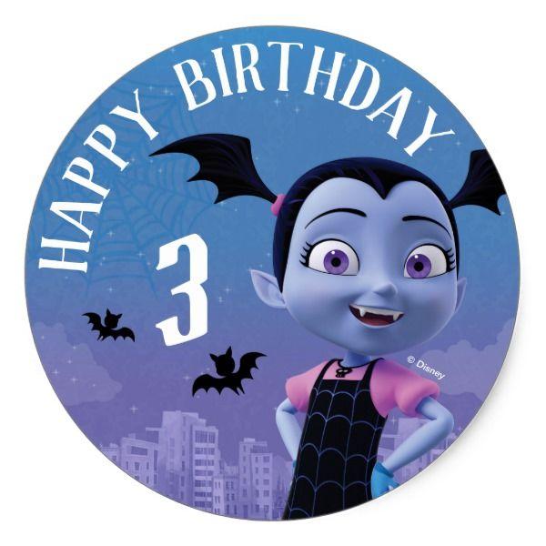 Vampirina Happy Birthday Classic Round Sticker Happybirthday