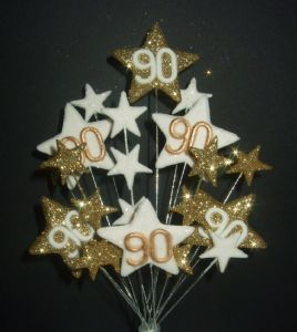 STAR AGE 90TH BIRTHDAY CAKE TOPPER IN GOLD WHITE - Postage 3 25