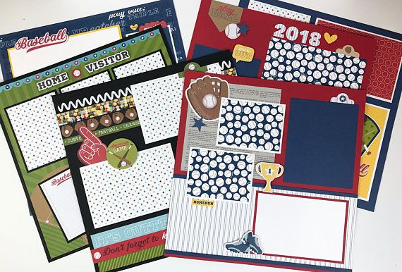 12x12 Baseball Scrapbook Page Kit or Premade Pre-Cut with