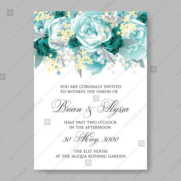 Vintage Wedding Invitation Vector Card Template Mint Green Blue