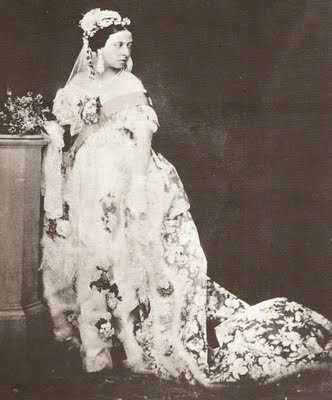 Queen Victoria posed in her wedding dress for pictures years later as photography was not used in 1840. Honiton lace was one of the most desired and valuable laces throughout the 17th, and early 18th century, particularly in France, but the late 18th century saw the introduction of machine-made Honiton lace substitutes, and the industry went into a massive decline. Queen Victoria attempted to revive the lace industry by commissioning an enormous piece of Honiton lace for her wedding dress.