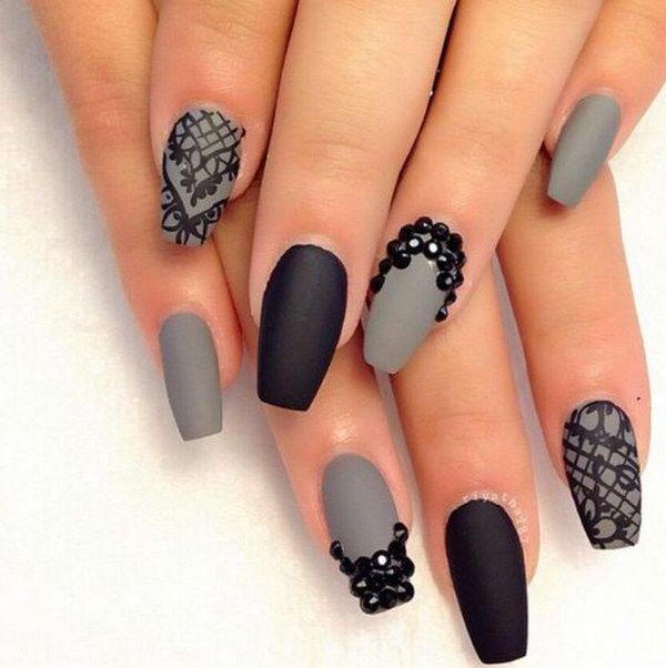 Gray and Black Rhinestone Matte Nails.