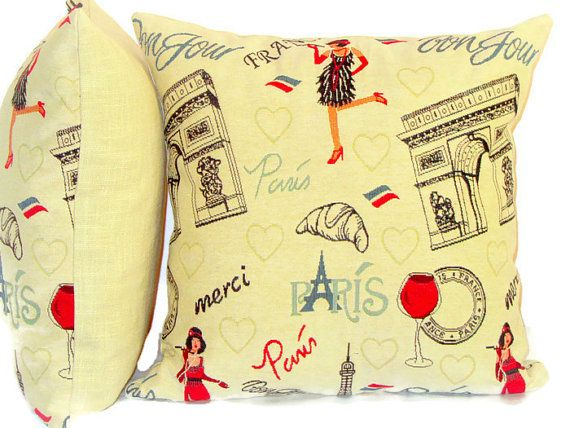Paris throw pillow cover ? 20x20 ? Woven jacquard cushion cover ? Goldenrod black red pillow ...