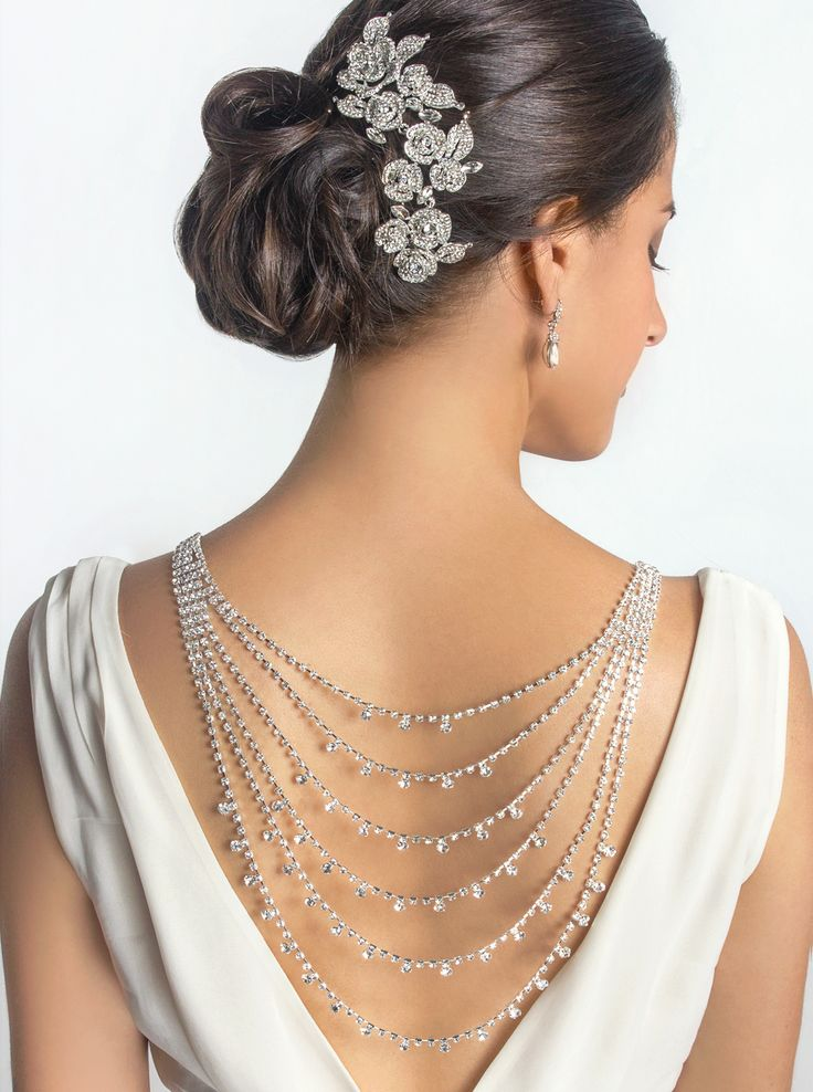 You will radiant when you showcase the back of your dress with this multi-layered crystal stone back necklace. Pair this necklace with your low v-neck back dress to grab all the right attention on your big day.