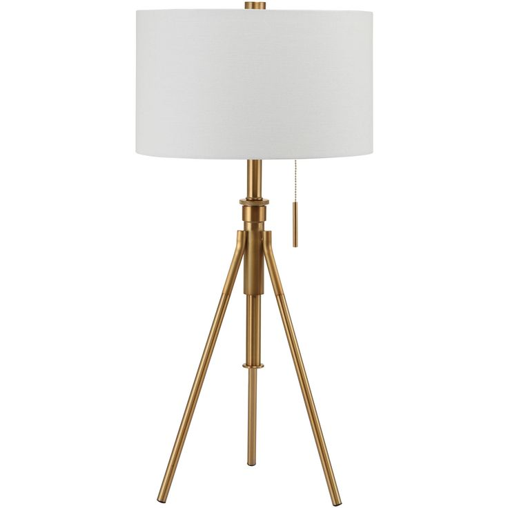 """$97 Houzz.com No tax Free Ship Mid-Century Adjustable Tripod Table Lamp, Gold 32.5"""" to 37.5""""H Matte Soft Gold"""