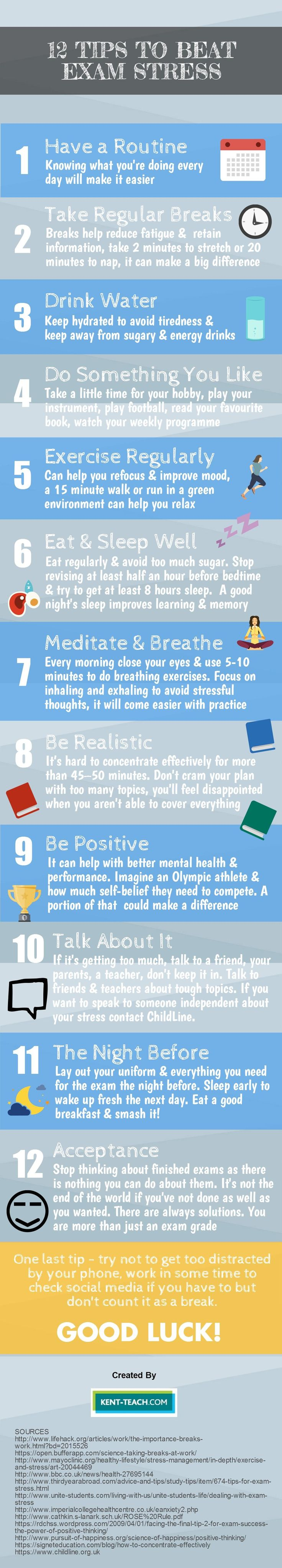 You could get the best out of your students if they follow these 12 tips to beat exam stress!