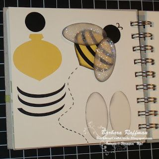 "By Barbara Raffman. Punch Art Bumblebee. Body is ornament punch, wings and stripes from large oval punch, and head from 3/4"" circle punch. Punch wings from vellum and spritz with Shimmer Mist."