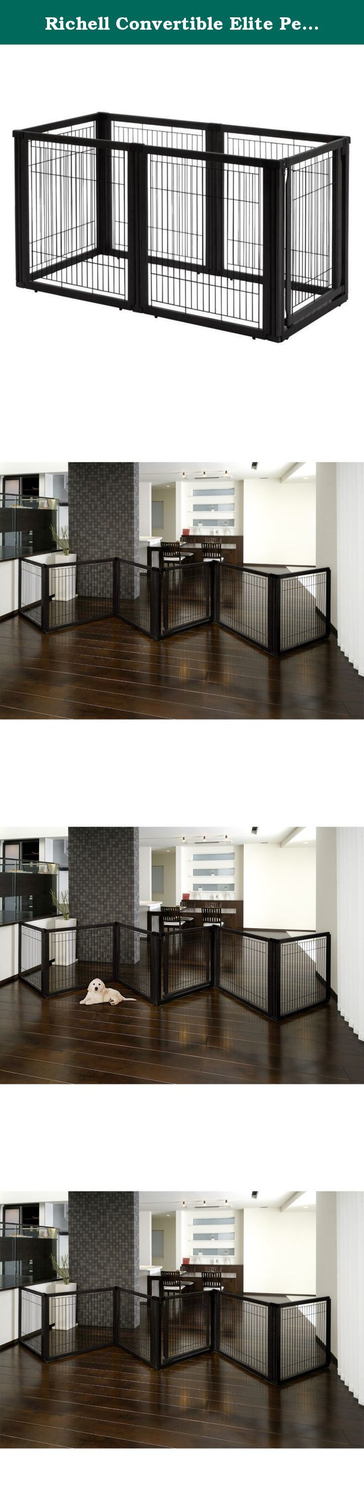 Richell Convertible Elite Pet Gate - 6 Panel -. The luxury of three pet products in one! The Richell Convertible Elite Pet Gate - 6 Panel - Black converts from a free standing pet gate to a room divider to a pet pen - in seconds! It's specifically designed to confine your pet safely in areas with larger openings, yet fit beautifully in any home decor. The gate includes a lockable door that allows you to move freely from room to room without having to shuffle the entire unit. Each panel…
