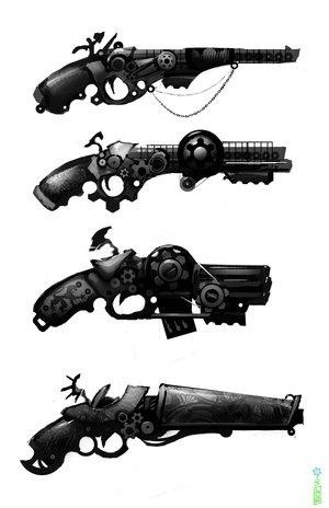 Steampunk Pistols. I'm not really a gun kinda gal, but the slim one at the top intrigues me.