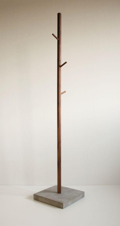 Kleiderständer aus Nussbaum und Beton // clothes rack by B.Pistorius via dawanda.com