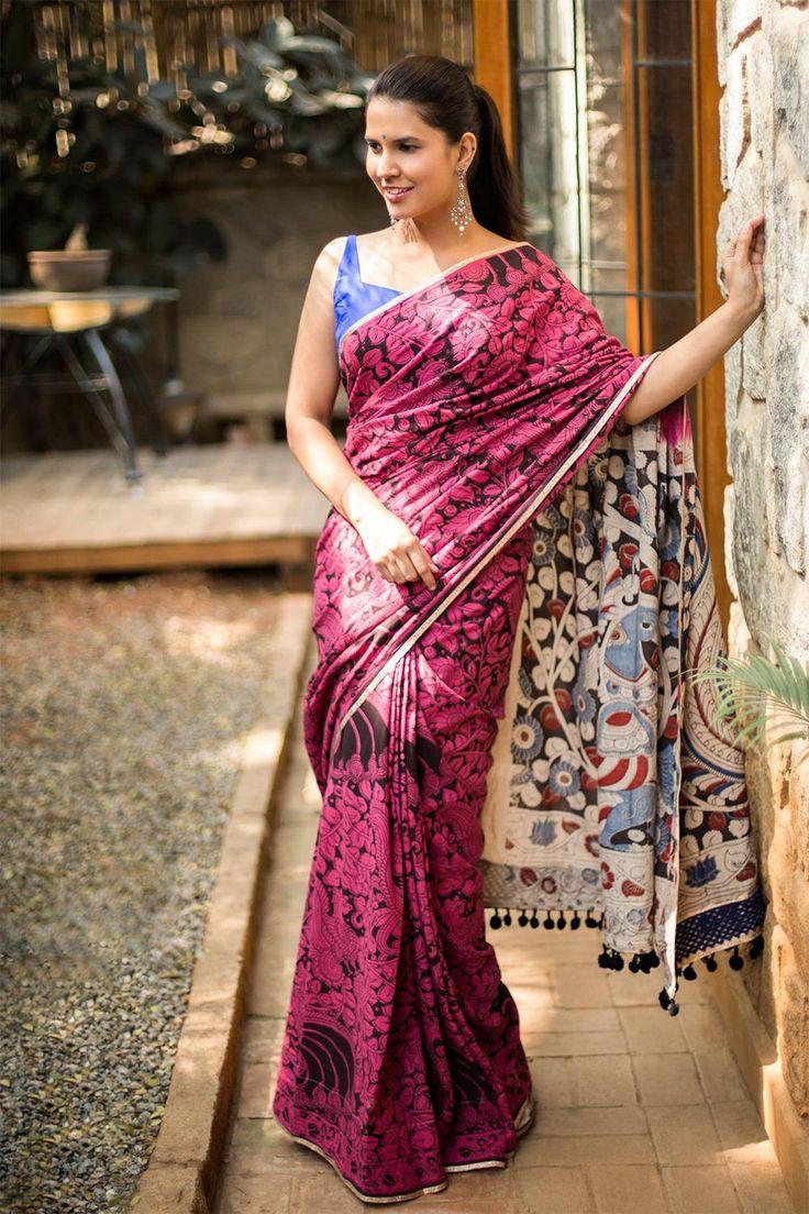 Pink and black Kalamkari printed cotton saree with multicolour pallu and details  #saree #houseofblouse #kalamkari #print #cotton #pink #black