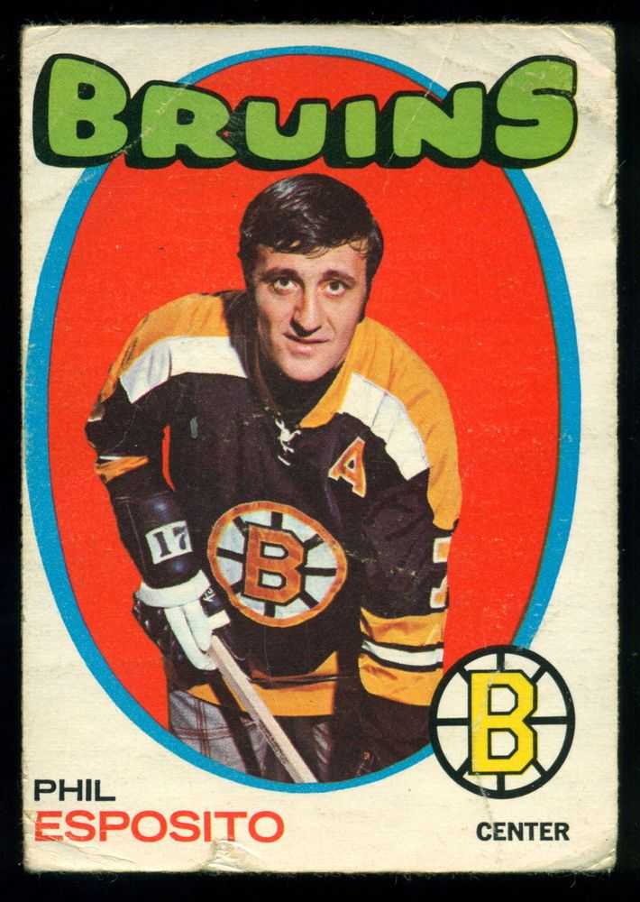 1971 72  Topps 20 PHIL ESPOSITO VG COND BOSTON BRUINS HOCKEY CARD #BostonBruins