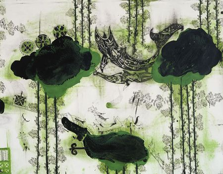 "John Pule. ""Not today nor tomorrow"" (detail), 2006 oil, ink and pencil on unstretched canvas  2000 x 2000 mm http://www.gowlangsfordgallery.co.nz"