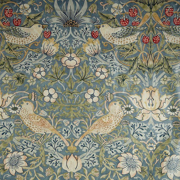 William Morris Strawberry Thief PVC Tablecloth Fabric, Duck Egg | John Lewis
