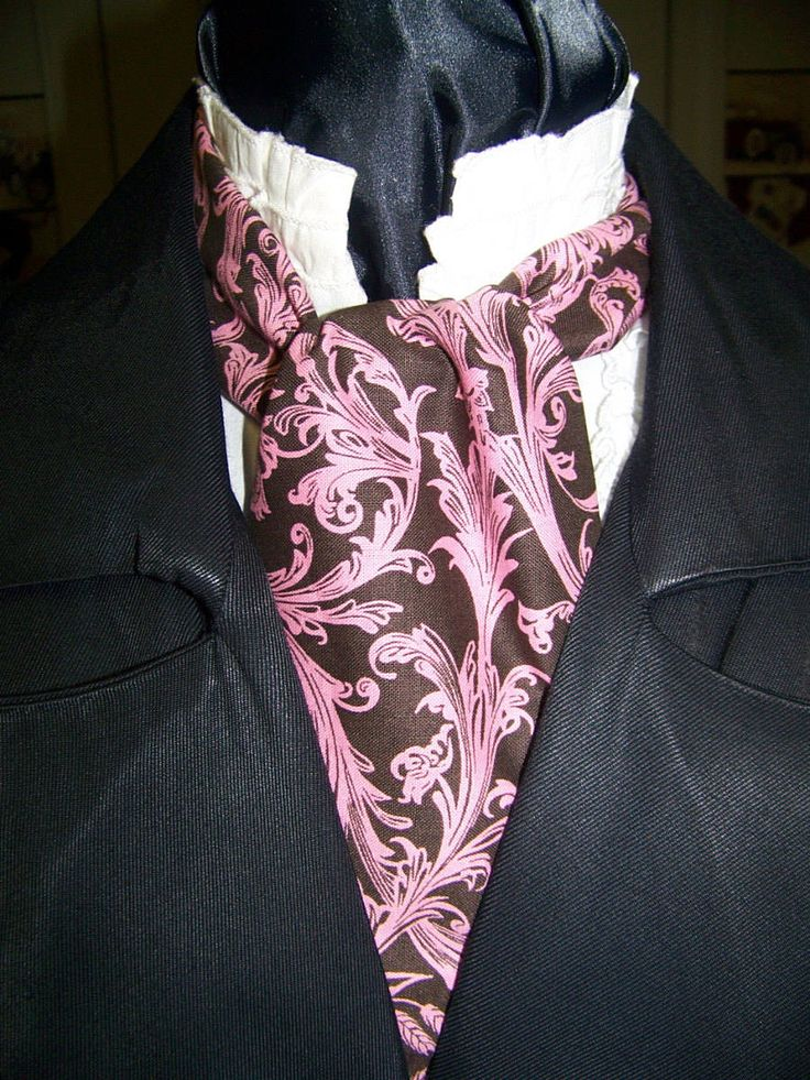 """Ascot or Carvat Brown and Floral Paisley cotton print fabric 4"""" x 42"""" Mens Historial Wedding, cravat tie with pocket square puff to match by civilwarlady on Etsy"""